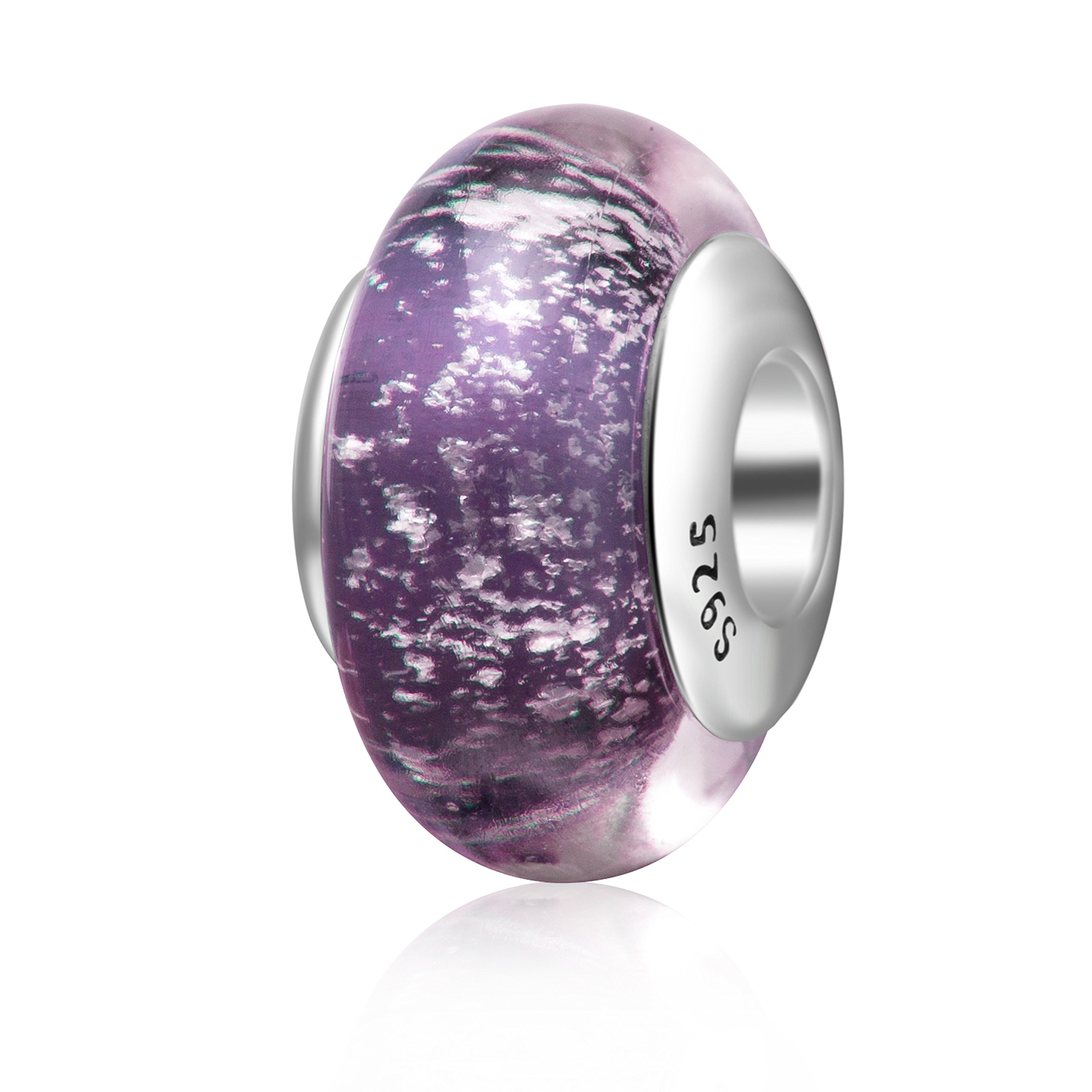 Hoobeads Murano Glass Starry Night Charms 925 Sterling Silver Core Silver Foiled Glass Bead for European Bracelet (Purple)