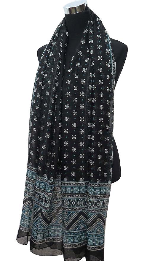 050403efb7d7 Lina   Lily Écharpe Foulard pour Femme Imprimé Aztèque Tribal (Bleu et  Noir)  Amazon.fr  Vêtements et accessoires