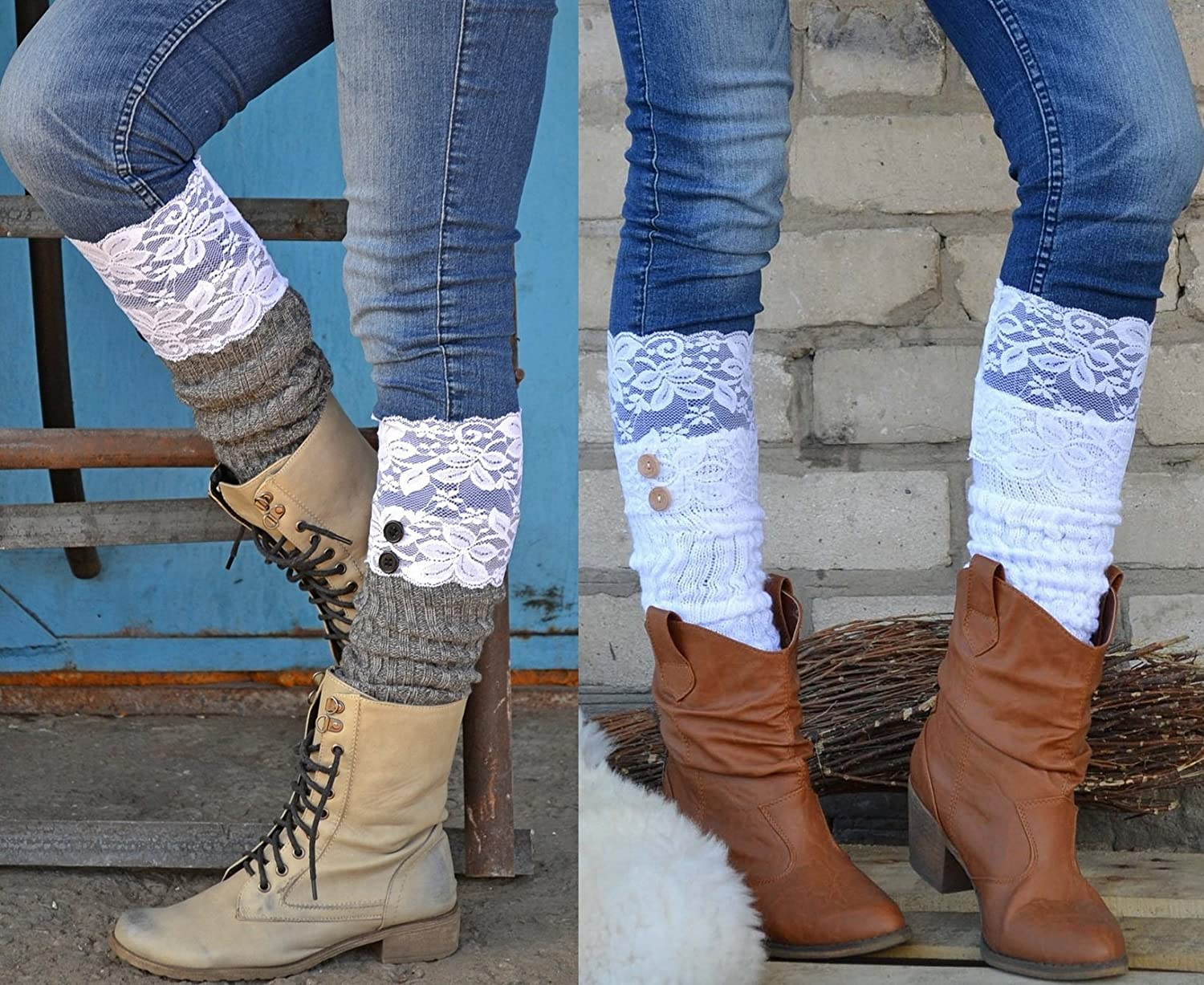 Grace Lace White Button Down boot socks, boot cuffs, leg warmers, legwarmers, lace boot socks, lace boot cuffs, boot toppers