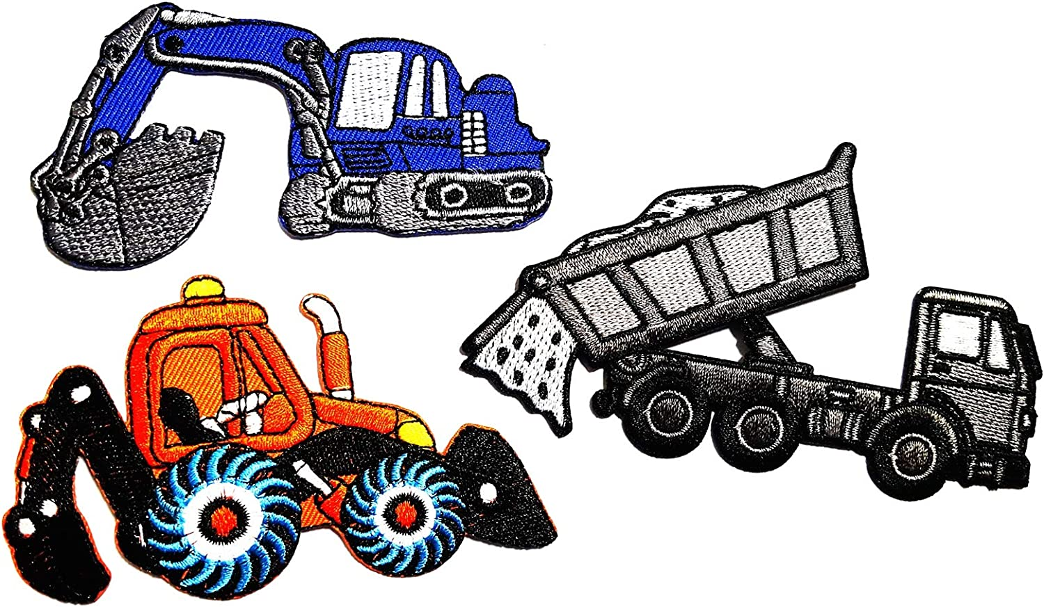 Nipitshop Patches Set of 3 Pcs Tractor Crawler plow Farm Truck Mint Green Patch Blue Backhoe Digger Tractor Loader Trackhoe Bulldozer Applique Iron-on Patch