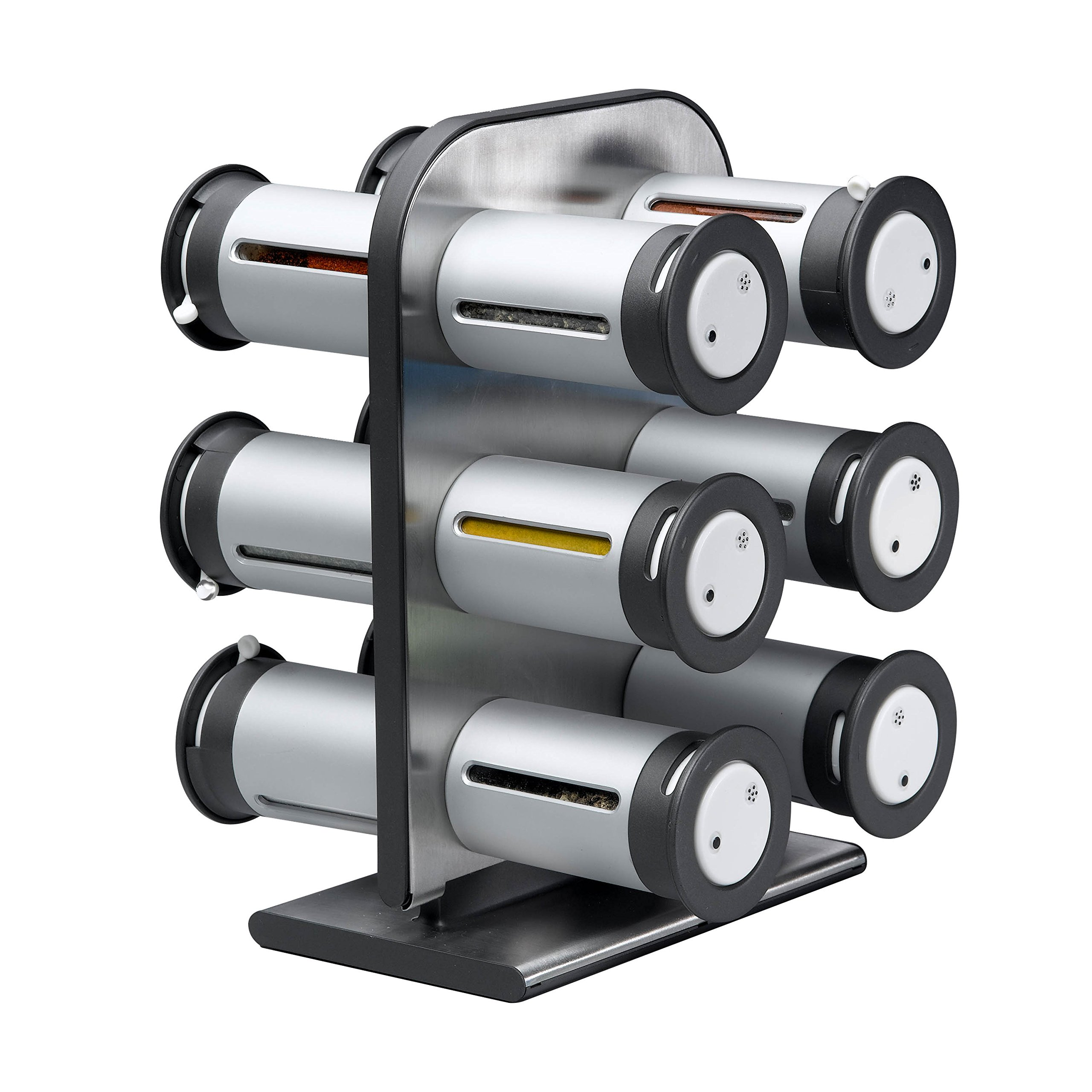Zevro KCH-06098 Zero Gravity Countertop Magnetic Spice Rack with Canisters, Metallic/Grey - Set of 12
