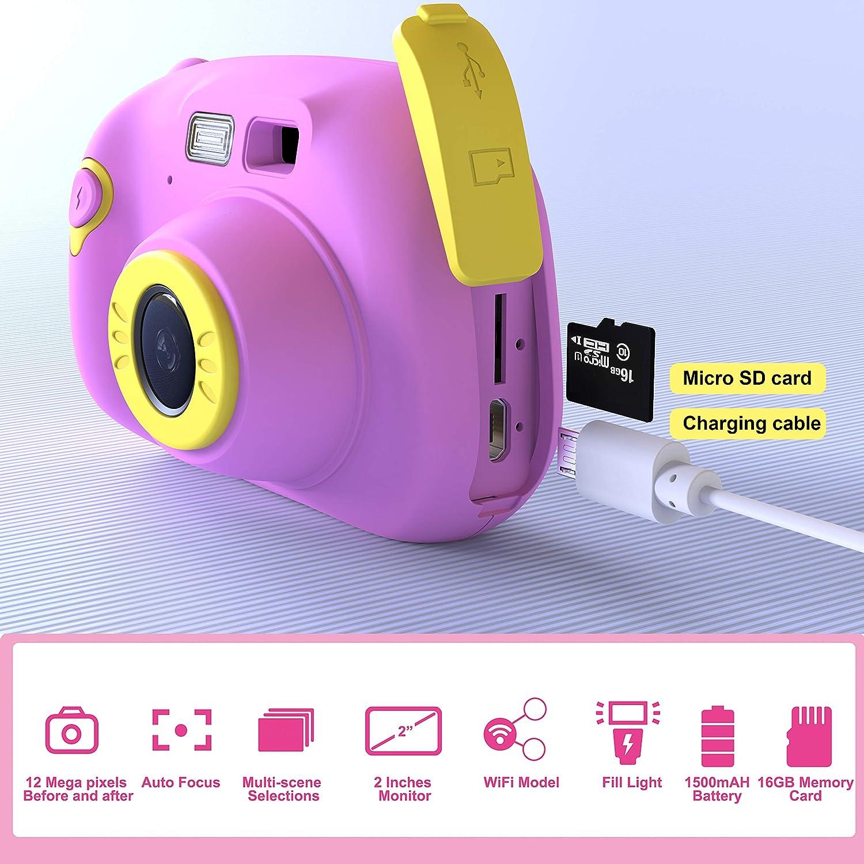 blau Pacnellent Digitale Kamera f/ür Kinder Robuste HD Kinderkamera 2,0 Zoll Farbdisplay 1200 Megapixel 1080p Videokamera mit 16 GB Speicherkarte und USB Kabel