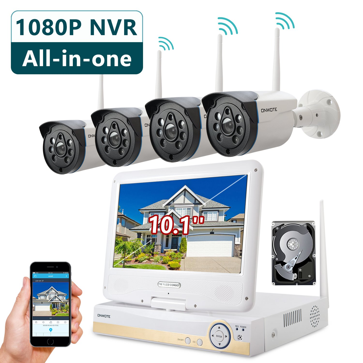 ONWOTE Plug n Play All-in-One 1080P HD NVR Wireless WiFi Security Camera System with 10.1'' LCD Monitor, 1TB Hard Drive and 4 Outdoor Night Vision IP Surveillance Camera (Built-in Router, Auto-Pair)
