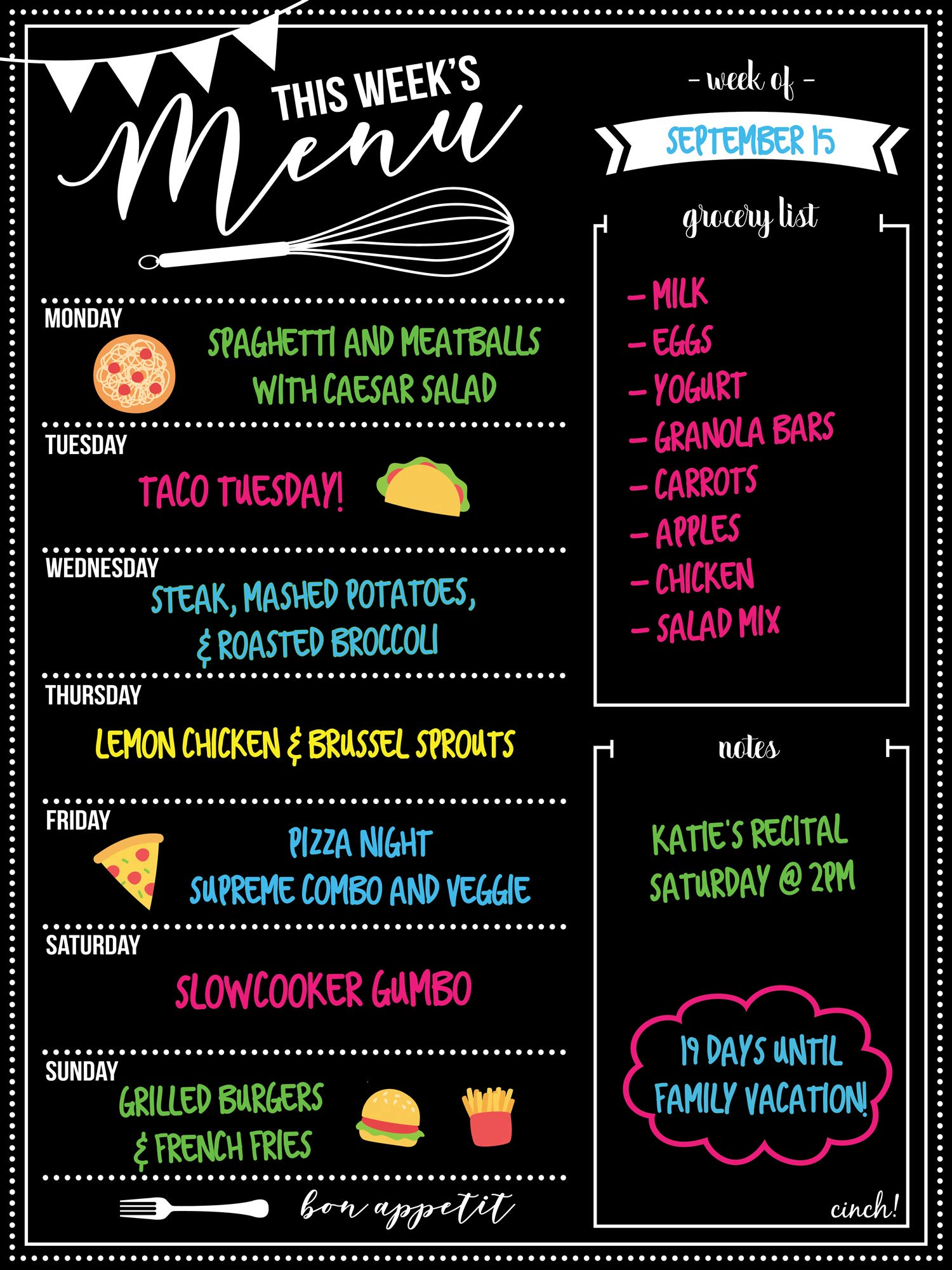 Magnetic Dry Erase Menu Board for Fridge: with Bright Neon Chalk Markers - 16x12'' - Weekly Meal Planner Blackboard and Grocery List Notepad for Kitchen Refrigerator - Whiteboard Chalkboard Magnet by cinch! (Image #2)