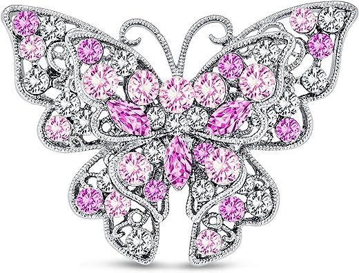 Bling Jewelry Negro Dorado Cristal Gran Moda Jard/ín Lib/élula Broche para La Mujer Madre De Lat/ón Chapado En Oro De 14K
