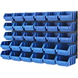 BiGDUG Plastic Bin Kit Wall Garage Storage Parts Bins Kit Tool Organiser Shelving (2 x Blue Bin Kit)