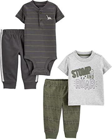 Simple Joys by Carters Baby M/ädchen 4-piece Long-sleeve Shirts and Pants Playwear Set
