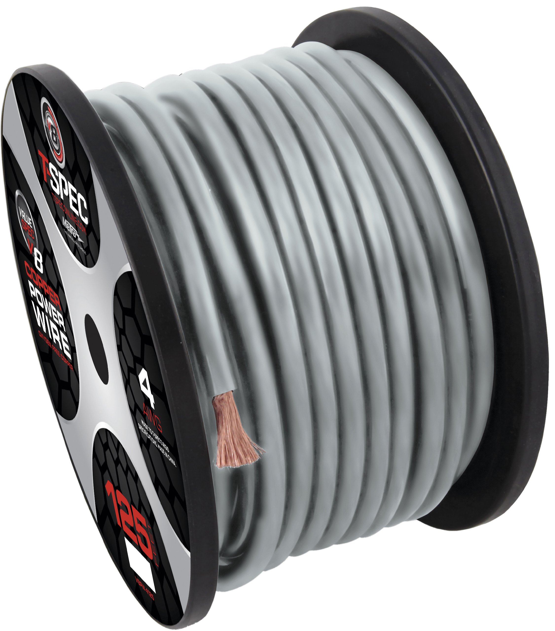 T-Spec V8GW-475 V10 Series Power Wire Spools 4 AWG, 75-Feet