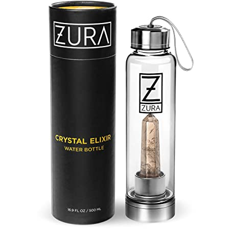 ZURA Crystal Infused Water Bottle – 18 oz – Removable Crystal– Glass and Stainless Steel Includes Protective Sleeve … (Smoky Quartz)