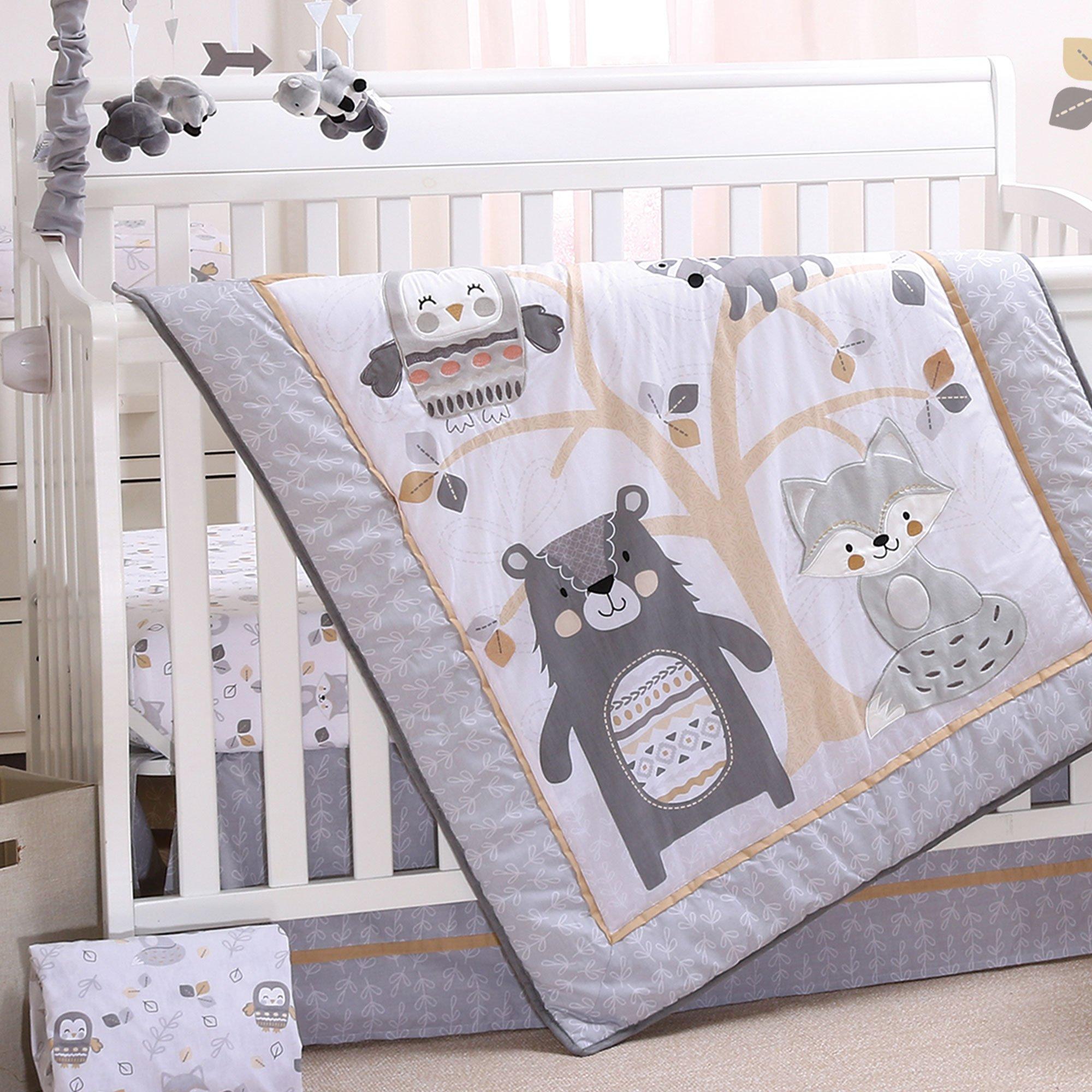 Woodland Friends 3 Piece Forest Animal Theme Baby Crib Bedding Set - Grey, Tan