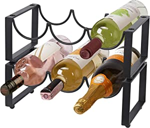 RiteSune 2 Tier Wine Racks Countertop 6 Bottles, Free-Standing Wine Rack Stackable for Home Decor Bar Wine Cellar Basement Cabinet Pantry