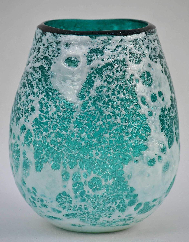 H 15,5 cm crafts /& design Windlicht Glas t/ürkis//wei/ß /Ø 14 cm