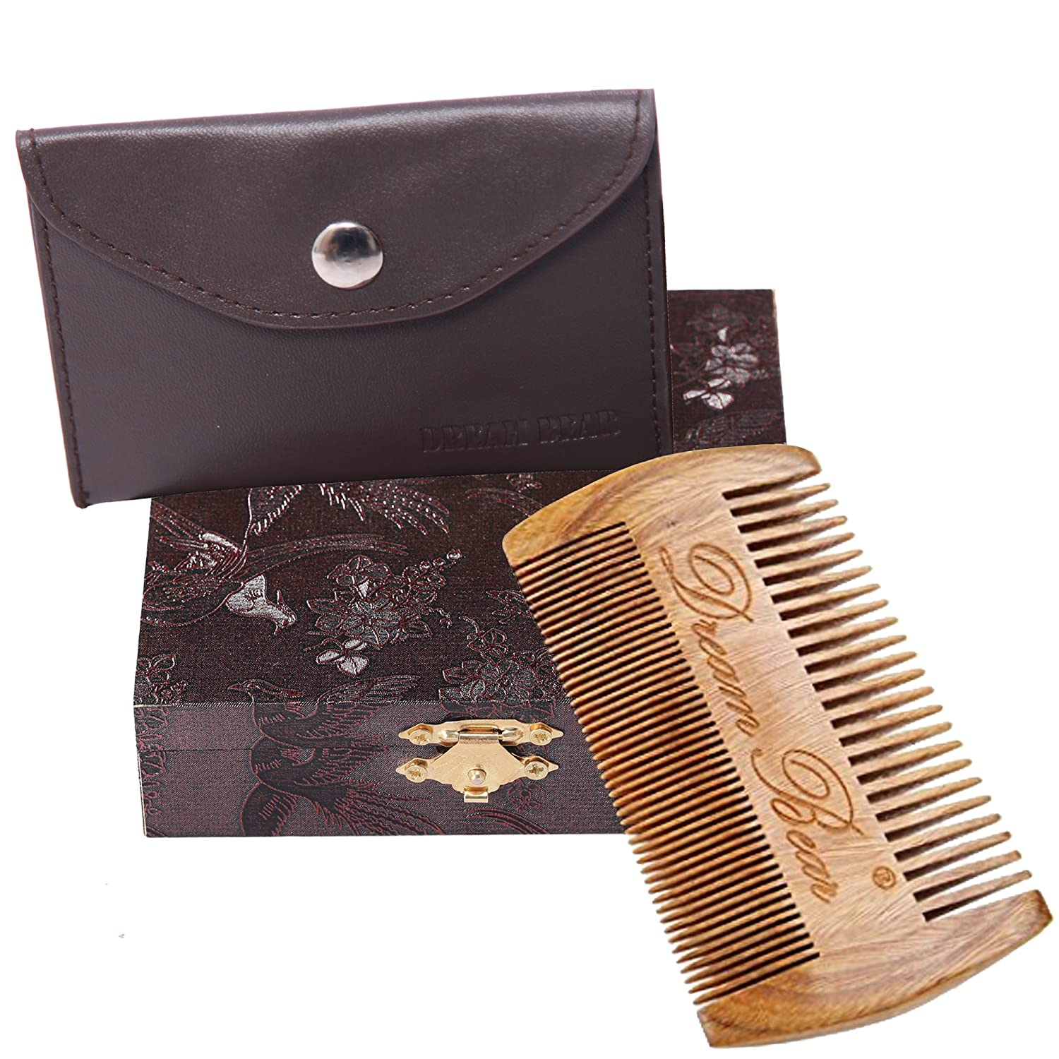 DREAM BEAR® 100%Handmade Green Sandalwood Comb, Double Different Densities Beard Comb, Natural Fragrance, no Static, Use for Mustache &  Hair+(perfect Giftbox Packaging). Natural Fragrance no Static Dream Bear Trading Co. Ltd