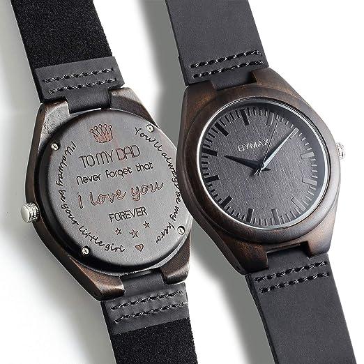 Relojes de madera grabados personalizados, reloj de madera de cuero para hombres y mujeres: Amazon.es: Relojes