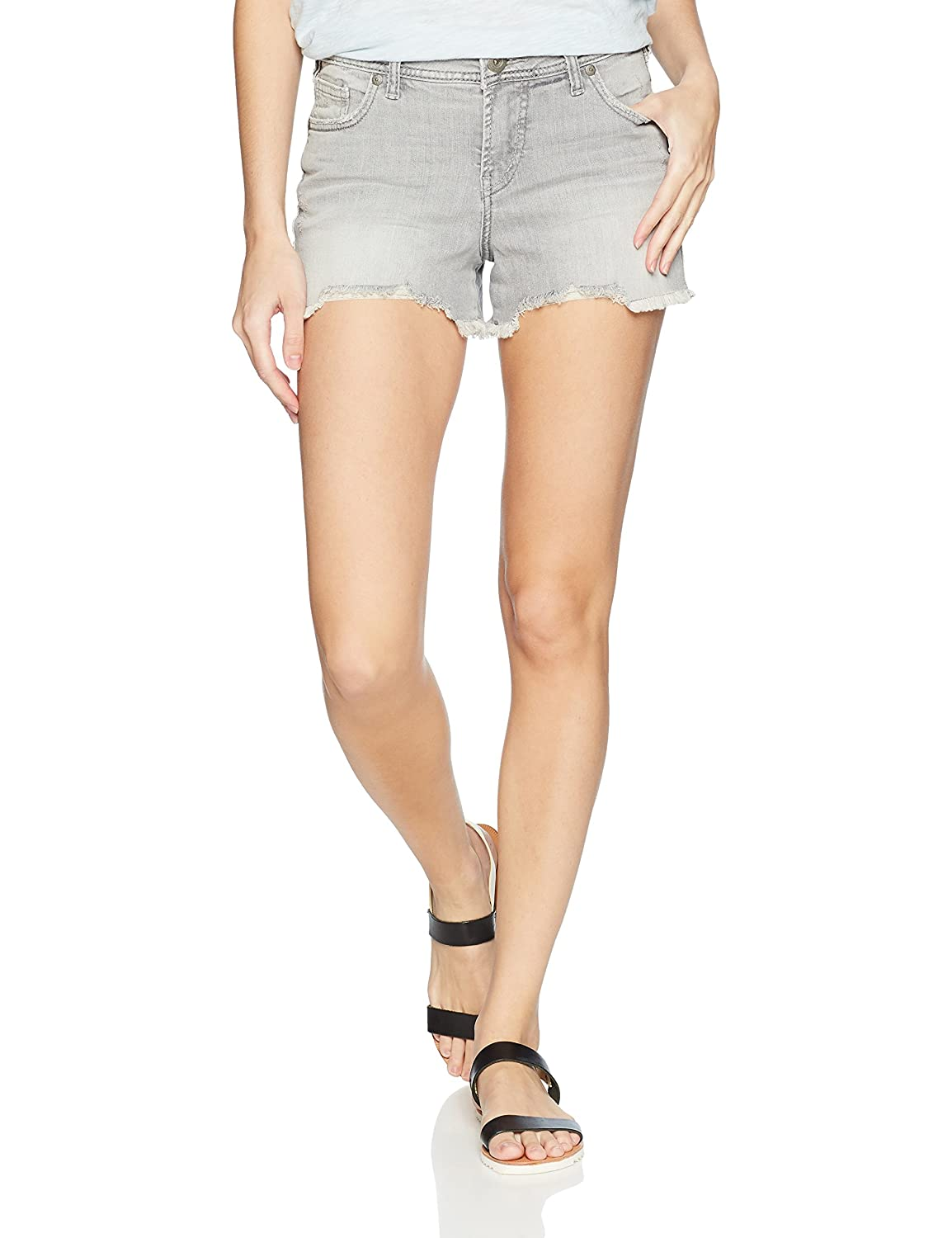 Womens Elyse Relaxed Fit Mid Rise Short Silver Jeans Co