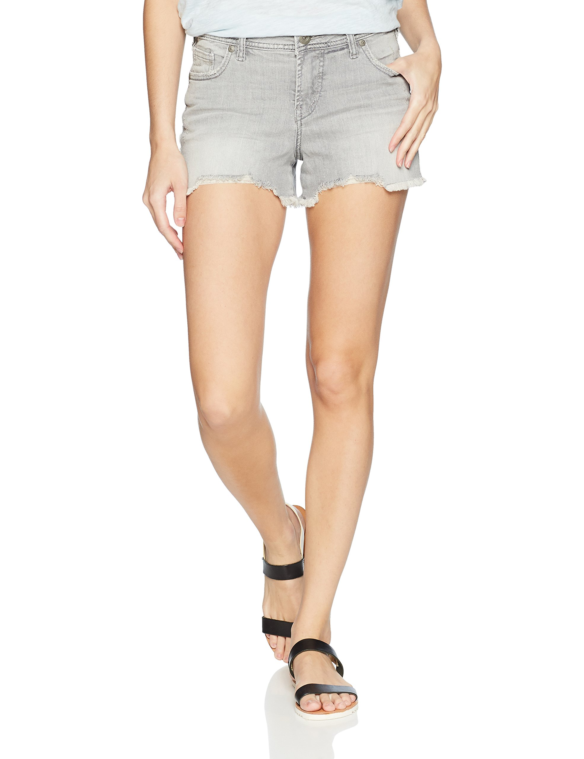 Silver Jeans Co. Women's Elyse Relaxed Fit Mid Rise Short, Gray Sandblast, 28