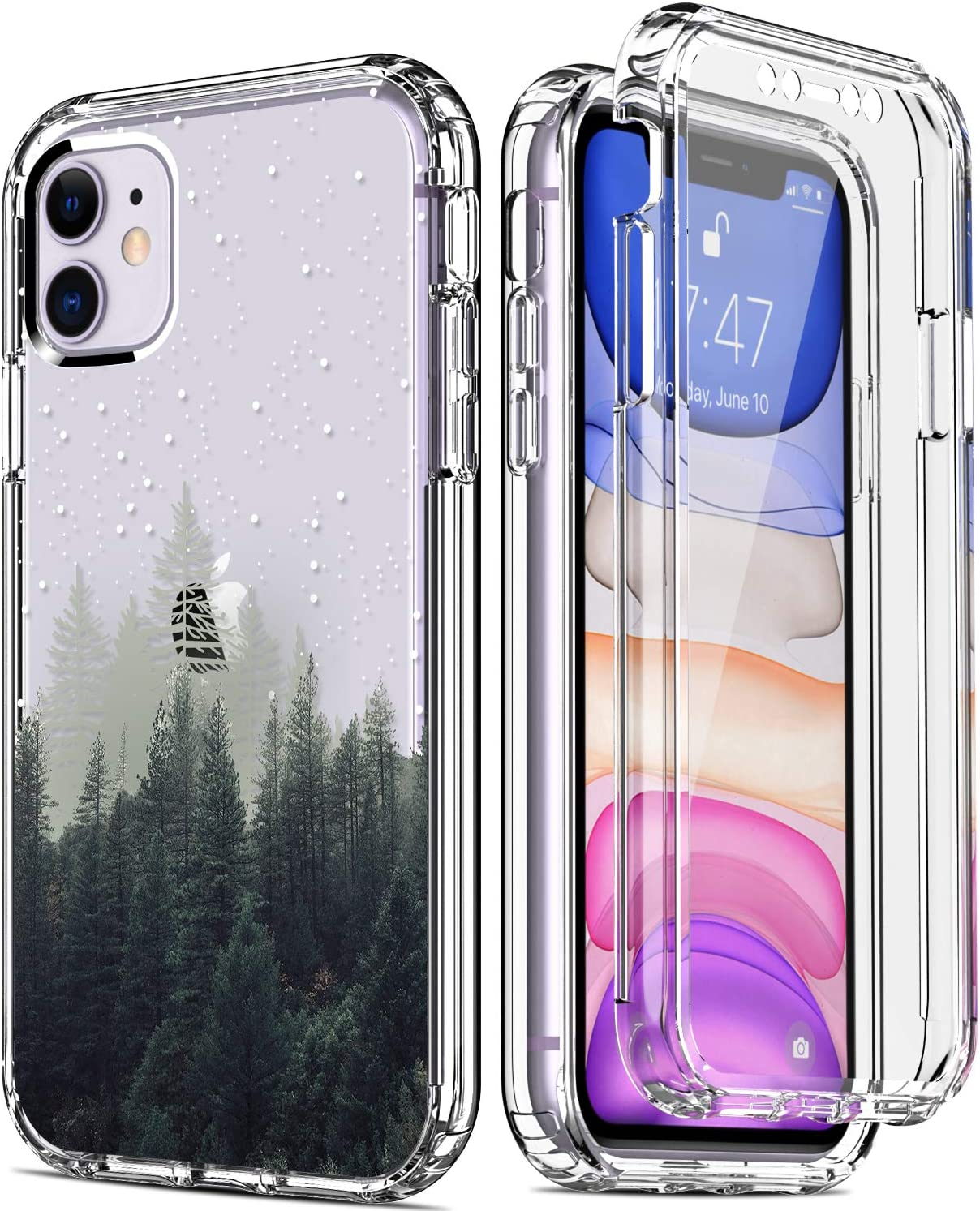 """IKAZZ iPhone 11 Case with Built-in Screen Protector,Clear TPU Bumper Cover with Fashionable Floral Designs for Girls Women,Protective Phone Case for Apple iPhone 11 6.1"""" Forest in The darknight"""