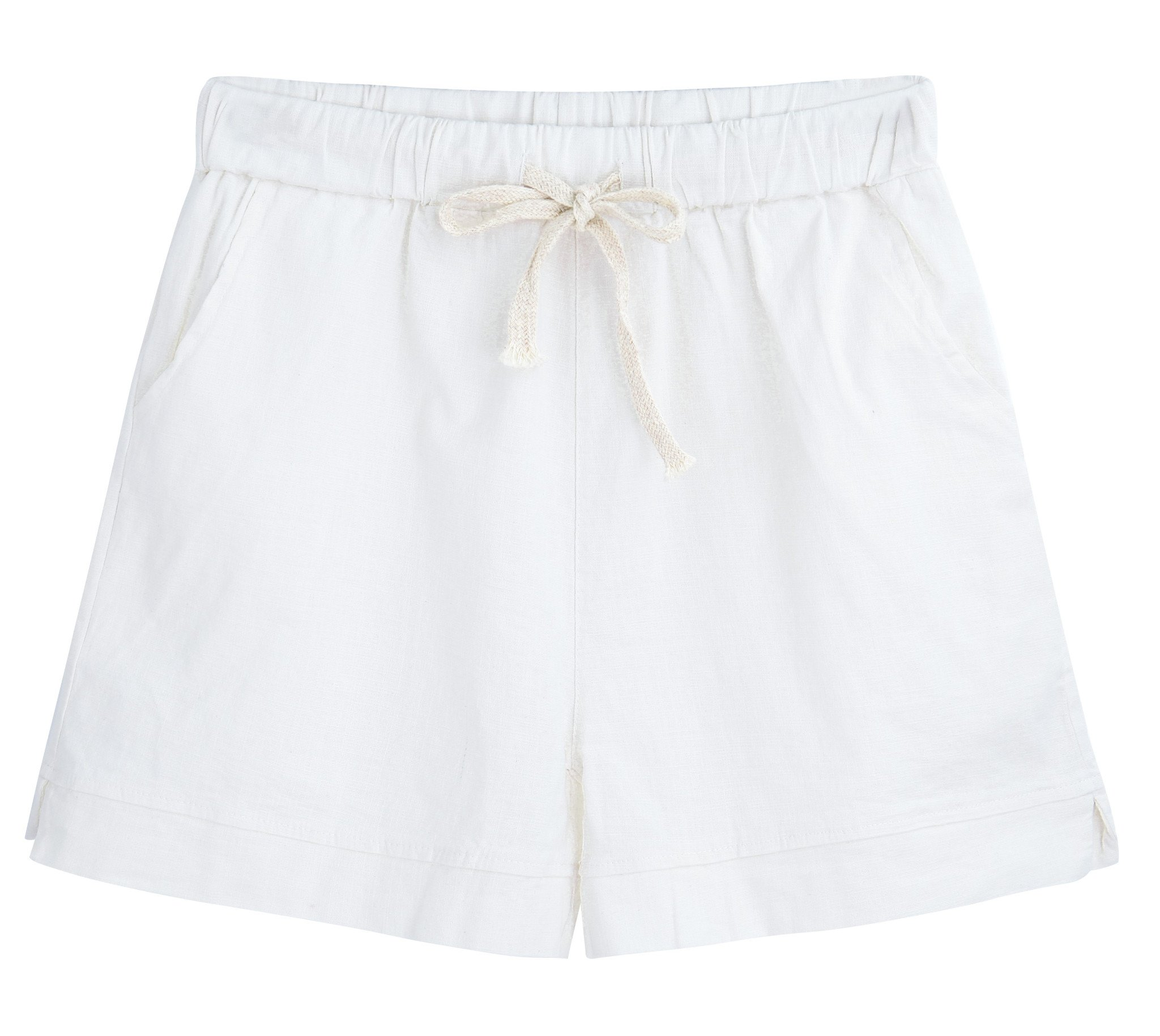 Yknktstc Womens Elastic Waist Cotton Linen Casual Beach Shorts with Drawstring US 12 Style 2 White