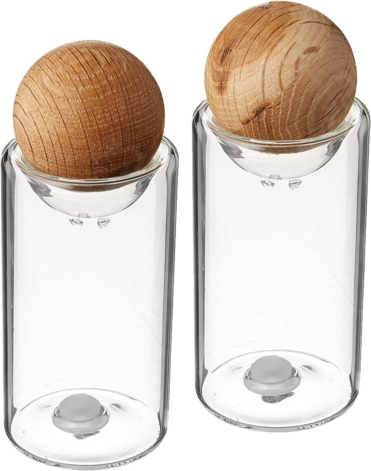 Sagaform Nature Collection Salt and Pepper Glass Salt & Pepper Shakers with Oak Stopper 4 1/2-Inch, Set of 2