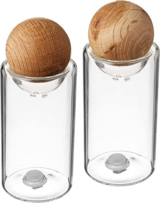 Amazon Com Sagaform Nature Collection Salt And Pepper Glass Salt Pepper Shakers With Oak Stopper 4 1 2 Inch Set Of 2 Clear Home Kitchen