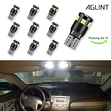 AGLINT 2X T10 Canbus No Error LED Coche Bombillas de Luz Super Brillante W5W 194 168 ...