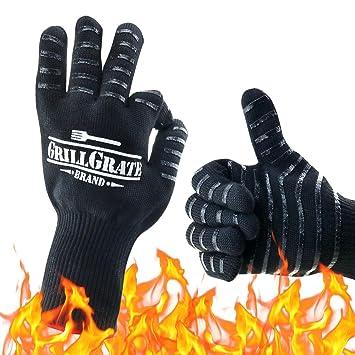 Guantes de barbacoa resistentes al calor, hasta 500 ºC, protección de mano de alta temperatura para hacer barbacoa, cocinar, hornear, asar: Amazon.es: ...