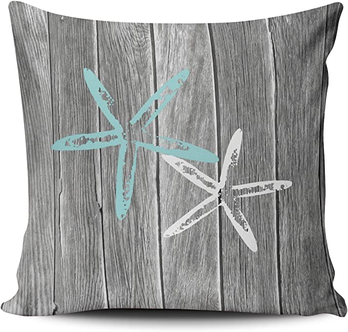 Fanaing Gray And Aqua Turquoise Beach And Starfish Pillowcase Home Sofa Decorative 20x20 Inch Square Throw Pillow Case Decor Cushion Covers One Side Printed Home Kitchen Amazon Com