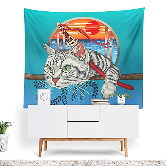 prz0vprz0 V Cat Tapestry, Japanese Decor, Cat Wall Art ...