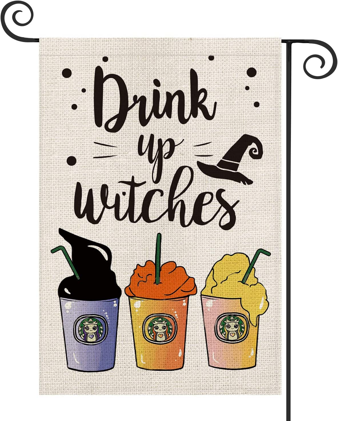 AVOIN Halloween Drink Up Witches Garden Flag Vertical Double Sized, Sisters Witches Yard Outdoor Decoration 12.5 x 18 Inch