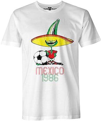 94ee05cf86dea More T Vicar Retro Pique Mexico 86 - Distressed Print Hombres Football  World Cup T Shirt  Amazon.es  Ropa y accesorios