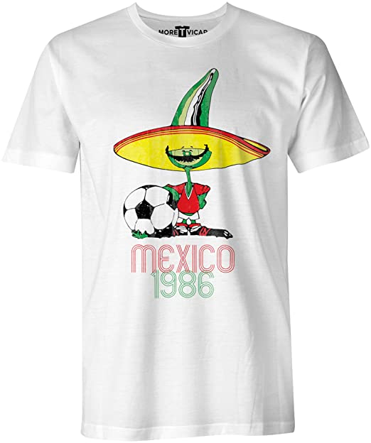 More T Vicar Retro Pique Mexico 86 - Distressed Print Hombres Football World Cup T Shirt: Amazon.es: Ropa y accesorios