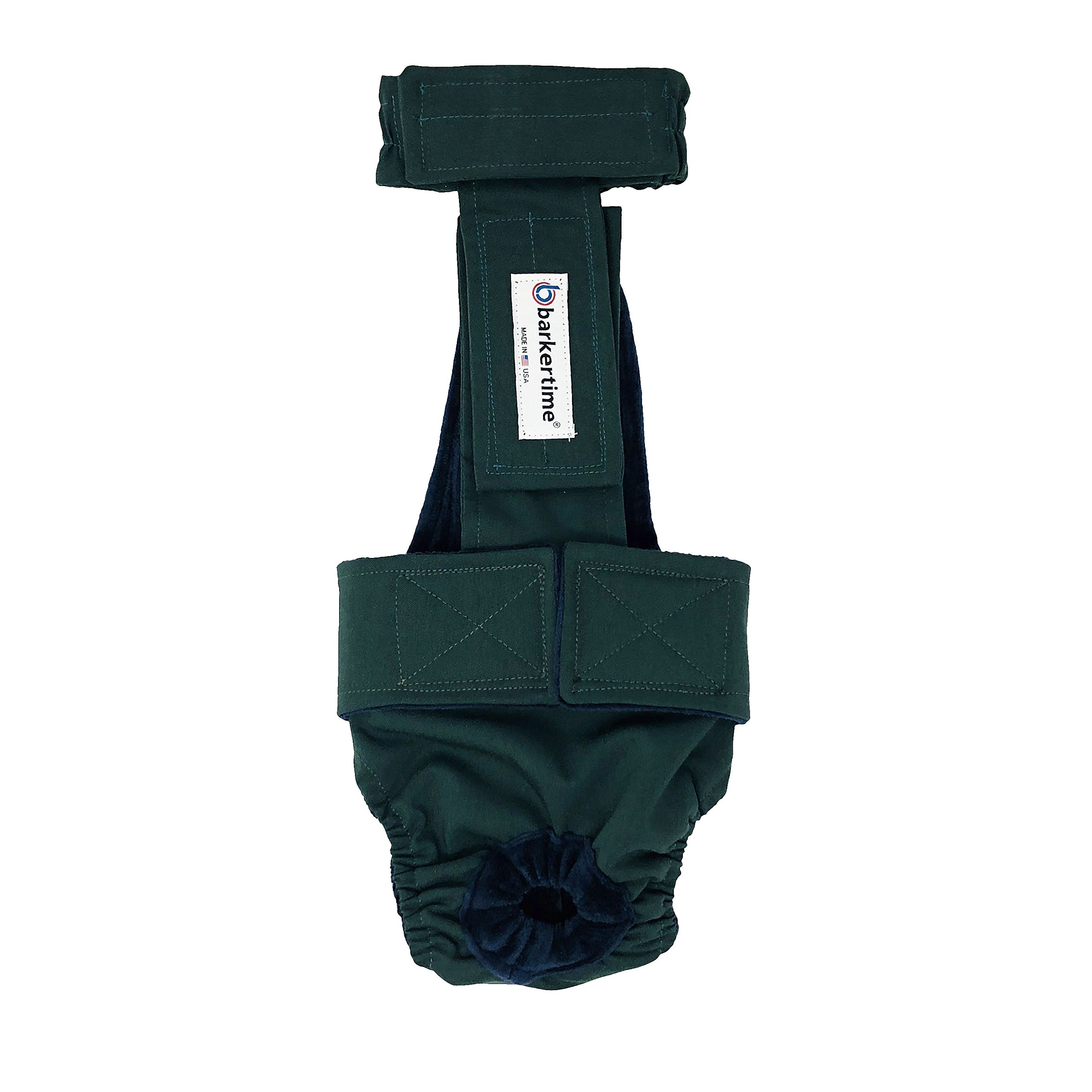 Barkertime Dog Diaper Overall - Made in USA - Hunter Green Escape-Proof Washable Dog Diaper Overall, XXL, Without Tail Hole for Dog Incontinence, Marking, Housetraining and Females in Heat by Barkertime