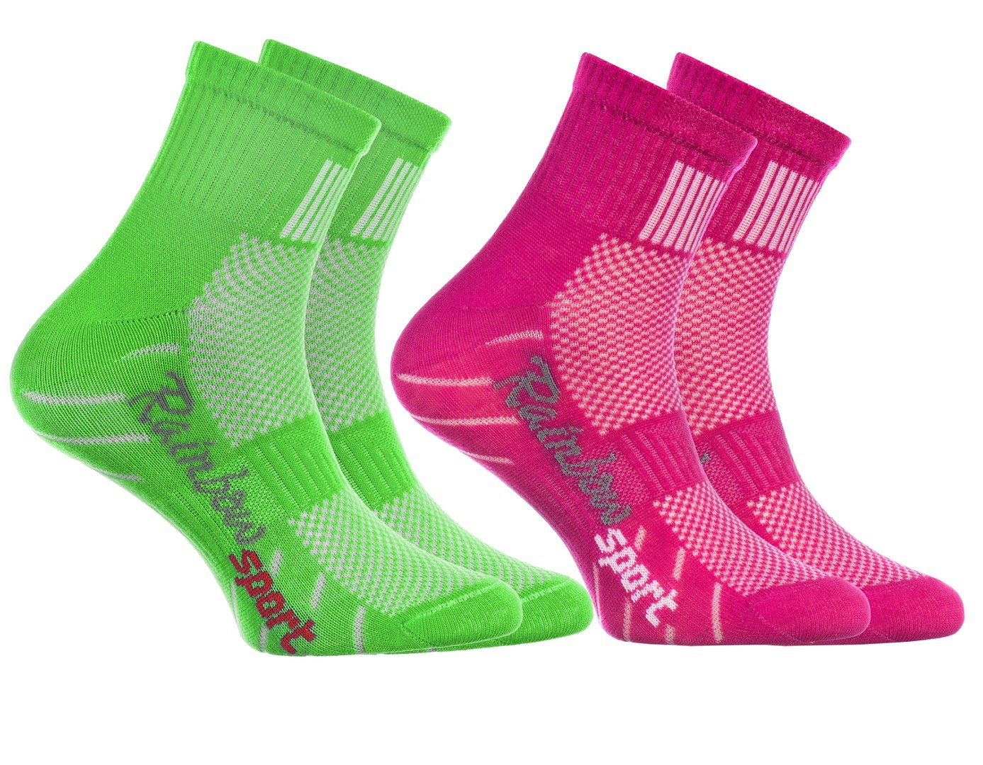 Rainbow Socks - Calzini Sportivi per BAMBINI - COTONE Respirante - da Correre Bicicletta ed altri SPORT - Attrattive Combinazioni di Colori |per Ragazza e Ragazzo, Numeri: EU 24-29 e 30-35, Made in EU