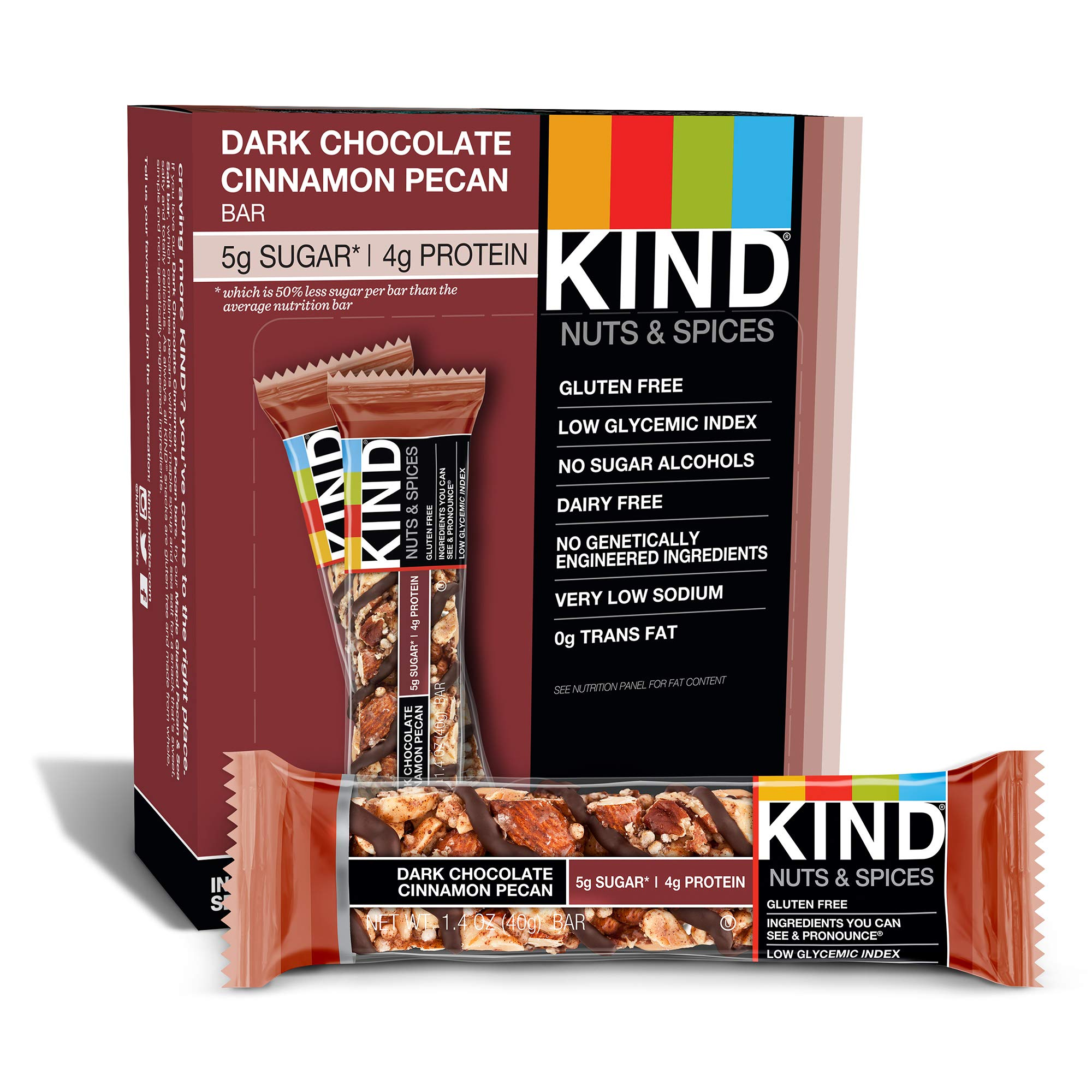 Kind Bars, Dark Chocolate Cinnamon Pecan, Gluten Free, Low Sugar, 1.4oz, Pack of 12
