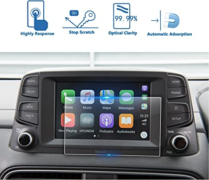 YEE PIN 2019 kona 7 in Screen Protector for 2018 2019 Kona Center Control Touch Screen 7-Inch Car Navigation Display Glass Protective Film Anti-Scratch High Clarity