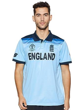 c52091bab8ad8 New Balance Men's England Cricket Official Replica World Cup 2019 ODI Short  Sleeve Shirt: Amazon.co.uk: Clothing