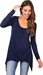 d4d405f849e KRISP® Women Ladies Pleated Flared Hanky Hem Plain Jersey Long Sleeve Tunic  Top T Shirt
