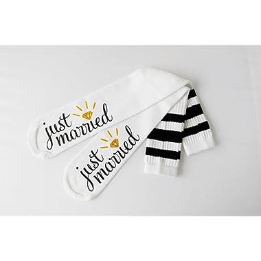 Just Married Bride Socks Knee High Wedding Socks Honeymoon Gifts Engagement Socks Bride Gift for Her