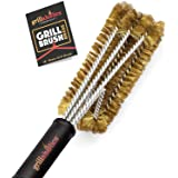 Grillaholics Essentials Brass Grill Brush - Softer Brass Bristle Wire Grill Brush for Safely Cleaning Porcelain and Ceramic G