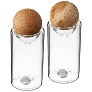 Sagaform Nature Collection Salt and Pepper Glass Salt & Pepper Shakers with Oak Stopper; 4 1/2-Inch, Set of 2