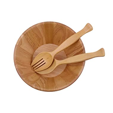 Wooden salad bowl with big spoon and fork for cook,10 x4 , wood brown.