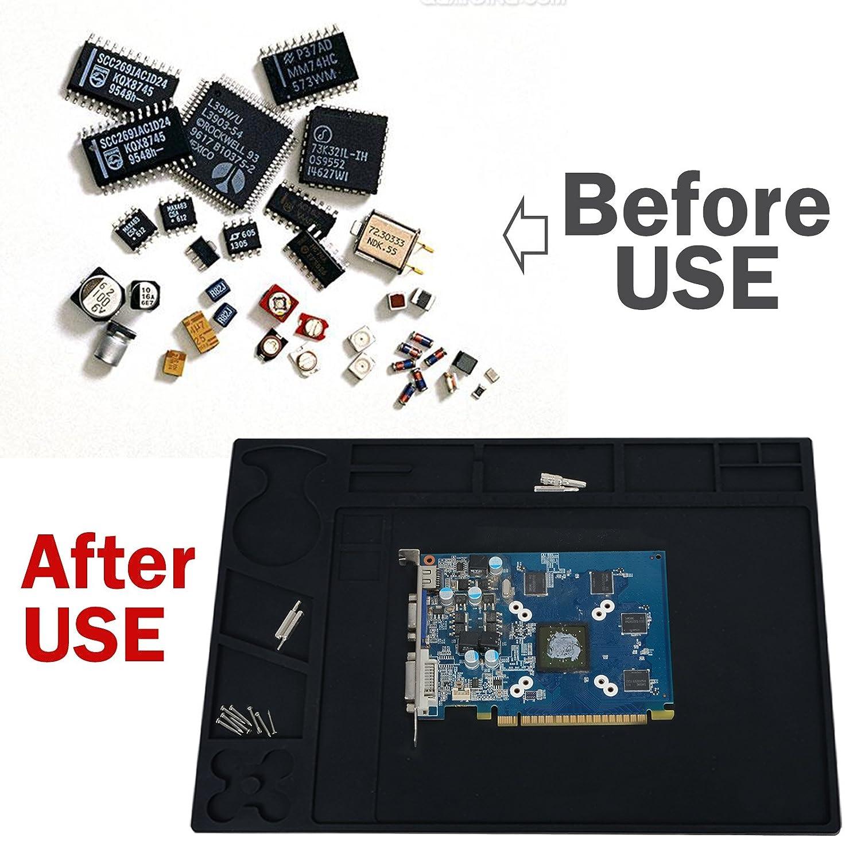 ... de aislamiento de silicona con correa de muñeca y limpiador de goma para estación de soldadura Teléfono inteligente ordenador portátil reparación: ...