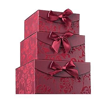 Amazon.com: Burgandy Swirl Nesting Elegant Christmas Gift Boxes, Set ...
