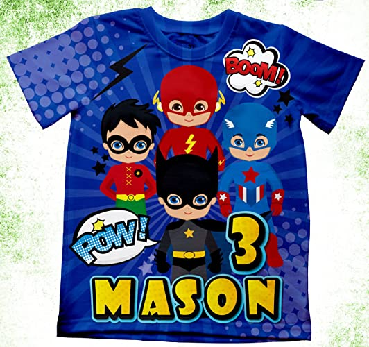 Amazon Personalized Marvel T Shirt Super Hero Theme Birthday Party Kids Shirts Batman Handmade