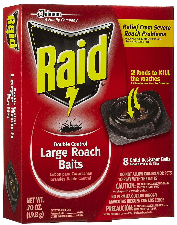 Raid 8 Count Double Control Large Roach Baits