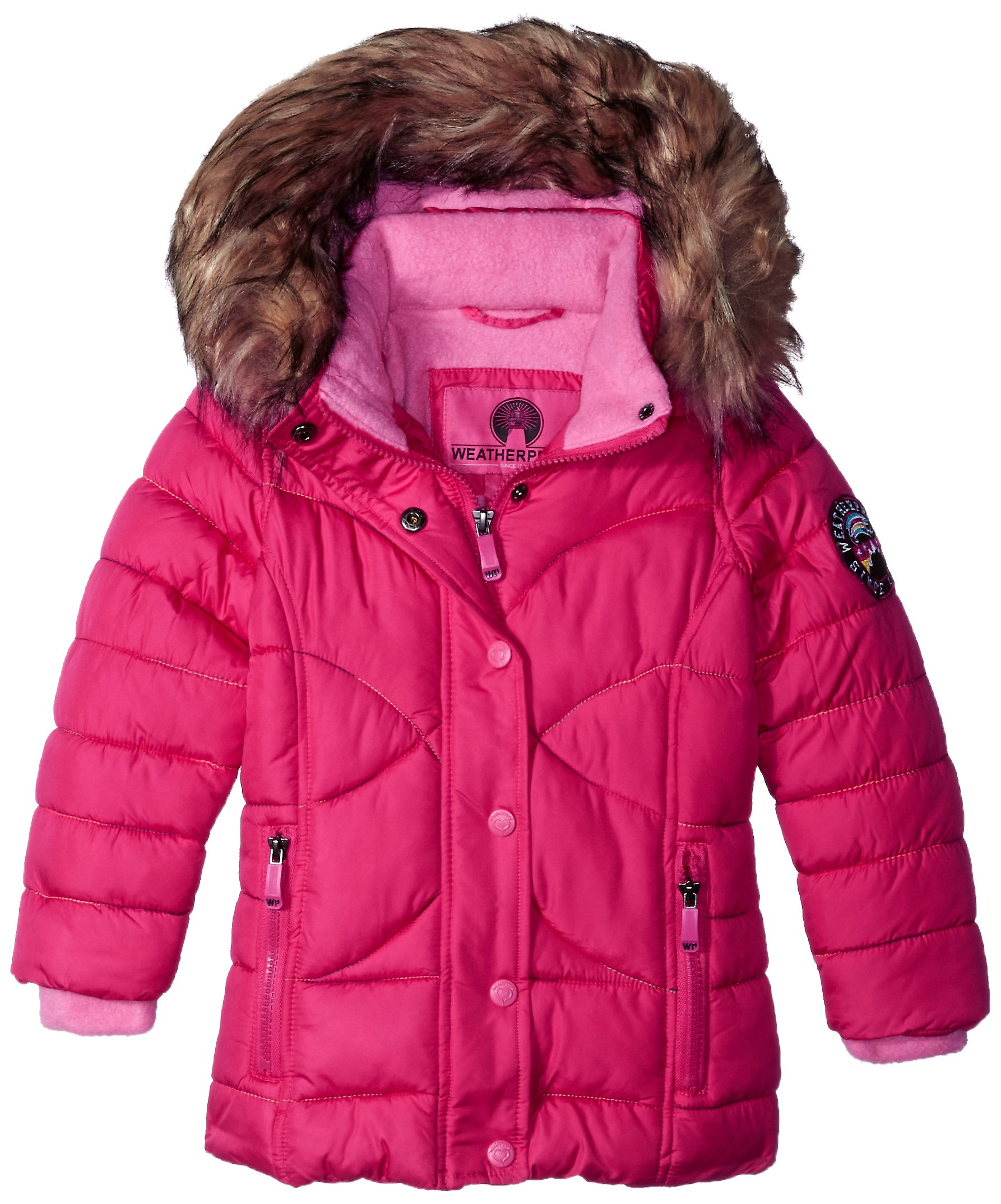 Weatherproof Big Girls' Outerwear Jacket (More Styles Available), Rainbow Stitch-WG149-Fuchsia, 14/16