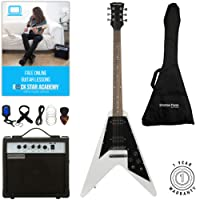 Stretton Payne Flying V Electric Guitar with practice amplifier, padded bag, strap, lead, plectrum, tuner, spare strings. Guitar in White