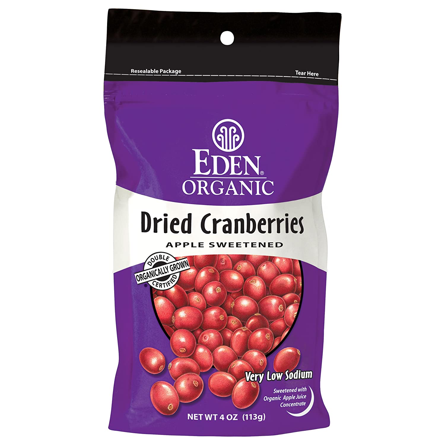 Eden Organic Dried Cranberries, 4-Ounce Pouches (Pack of 5)