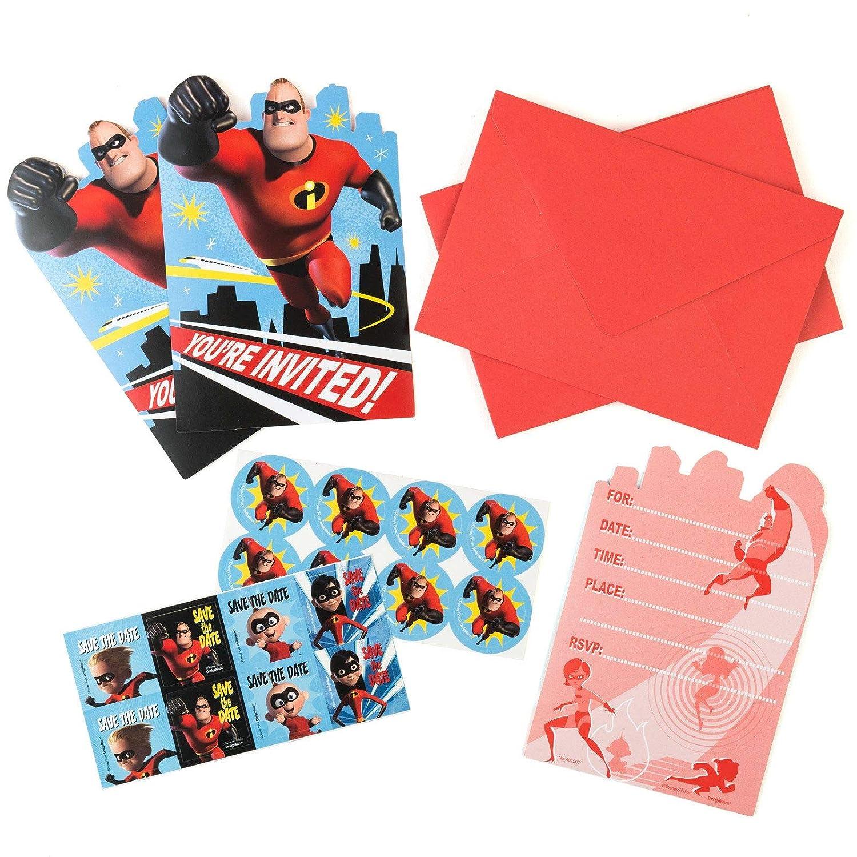 Amscan Disney//Pixar Incredibles Postcard Invitations Standard Multicolor 491907 Party Favor