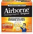 Airborne Vitamin C 1000mg Immune Support Supplement, Effervescent Formula, Orange, 30 Count Tablets